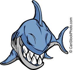 kép, vektor, kabala, karikatúra, cápa