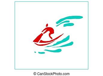 kép, water., sport, bike., sugárhajtású repülőgép, ember, stilizált, pihenés