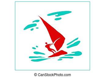 kép, water., sport, vitorlázás, board., ember, stilizált, pihenés