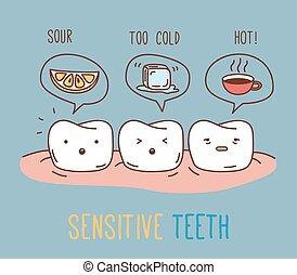 képregény, érzékeny, körülbelül, teeth.