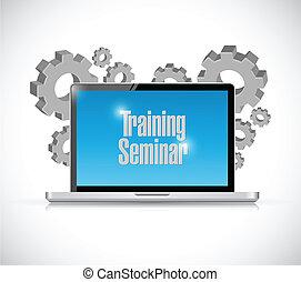 képzés bekapcsol, laptop, ábra, tervezés, szeminárium