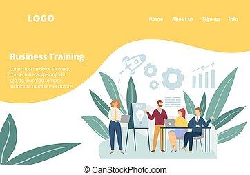 képzés, bot, műhely, vektor, illustration., sportcsapat találkozik, kereskedelmi ügynökség