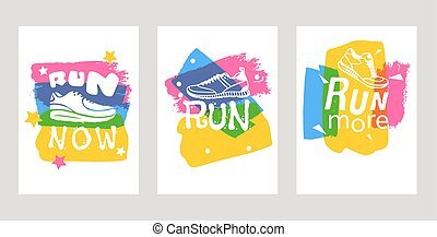 képzés, felirat, motiváció, állhatatos, poster., cipők, felírások, szöveg, now., edzőcipő, nyomdászat, indítvány, futás, vektor, gumitalpú cipő, ábra, cégtábla, kártya, futás, vagy, csuszkák