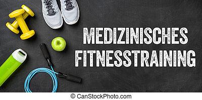 képzés, háttér, állóképesség, (german), felszerelés, fitnesstraining, sötét, -, orvosi, medizinisches
