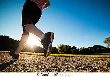képzés, nő, egészséges, fiatal, kocogás, futás