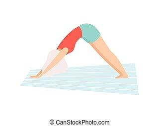 képzés, nő, póz, jóga, tréning, kutya, ábra, fiatal, fordulat, vektor, gyakorló, leány, lefelé, fizikai