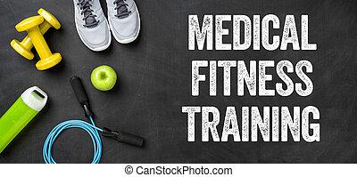 képzés, orvosi, -, sötét, felszerelés, háttér, állóképesség