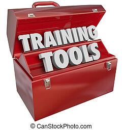 képzés, siker, szakértelem, tanulás, új, szerszámosláda, eszközök, piros