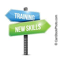 képzés, szakértelem, ábra, aláír, tervezés, új, út