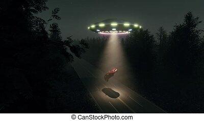 képzelet, autó, repülő csészealj, út, éjszaka, ufo