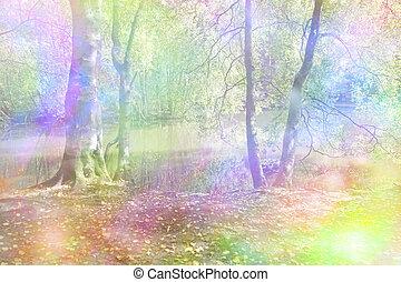képzelet, erdőség, szivárvány