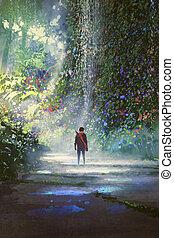 képzelet, gyalogló, erdő, ember