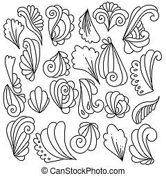 képzelet, zöld, alapismeretek, göndörödik, állhatatos, dekoratív, elvont, doodles