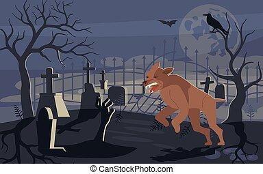 képzelt, farkasember, temető, borzasztó, futás, át