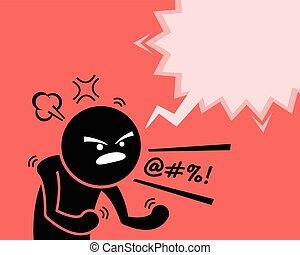 kérdezés, ember, mérges, övé, elégedetlenség, nagyon, tombol, düh, why., kifejez