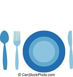 kés, háttér, elszigetelt, tányér, villa, kanál, fehér