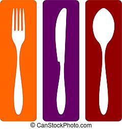kés, kanál, villa