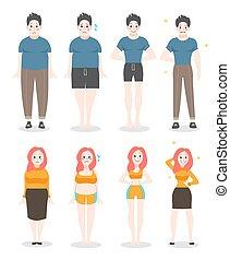 késik, nő, ember, weight., kövér, concept., hájasság, egészséges