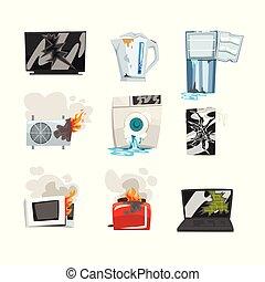 készülék, laptop, conditioner, otthon, kemence, kenyérpirító, hibás, állhatatos, mikrohullám, ábra, fehér, gép, smartphone, tv, háttér, hűtőgép, karikatúra, mosás, törött, kanna, levegő, vektor