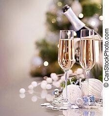 két, év, új, pezsgő, celebration., szemüveg