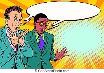 két, döbbent, csoport, businessmen, multi-ethnic