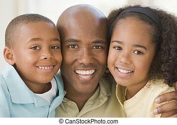 két, fiatal, átkarolás, mosolygós, gyerekek, ember