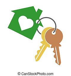 két, ikon, jelkép, háttér, fehér, kulcs, ring., épület, árnykép, szív, keychain