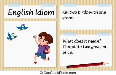 két, sablon, angol, megkövez, egy, idiom, megöl, madarak