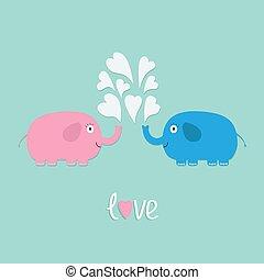 két, szív, tervezés, elefántok, szeret, lakás, szökőkút, kártya