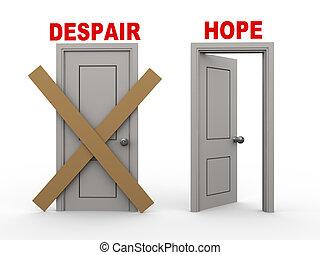 kétségbeesés, remény, ajtók, 3