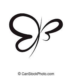 kézírás, elvont, jelkép, lepke, vektor