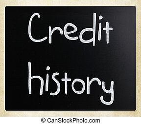 """kézírásos, tábla, """"credit, history"""", fehér, kréta"""