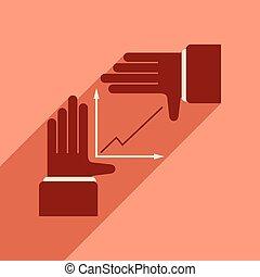 kéz, ábra, ikon, háló, hosszú, árnyék, lakás