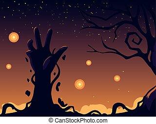 kéz, életre keltett hulla, mindenszentek napjának előestéje, háttér, éjszaka