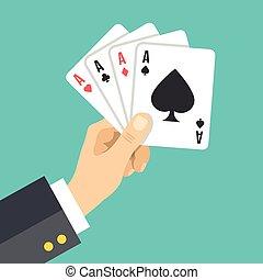kéz, 4, birtok, kitűnőség, játék, kártya.