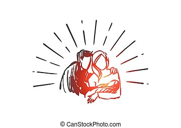 kéz, atya, gyermek, boldog, vector., újszülött, concept., elszigetelt, húzott, anya