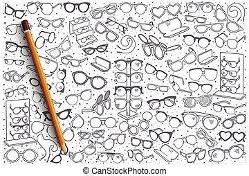 kéz, bolt, húzott, szemüveg, háttér
