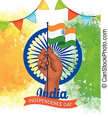 kéz, chakra, szabadság, indiai, boldog, lobogó, ashoka, nap