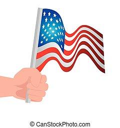 kéz, fehér, egyesült, háttér, egyesült államok, lobogó