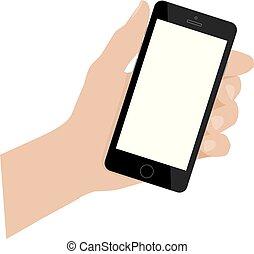 kéz, furfangos, telefon, smartphone., vektor, ábra, blank., birtok