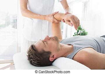 kéz, gyógyász, felfogó, ember, masszázs