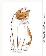 kéz, húzott, portré, macska, vöröses sárga, pletykázó vénasszony