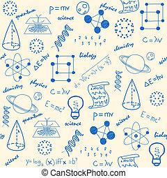 kéz, húzott, tudomány, seamless, ikonok