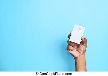 kéz, hitel, birtok, felolvasás, kártya, értesülés