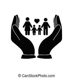 kéz, icon., család, vektor, ikon, törődik, birtok