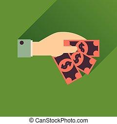 kéz, ikon, hosszú, pénz, árnyék, lakás