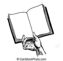 kéz, könyv