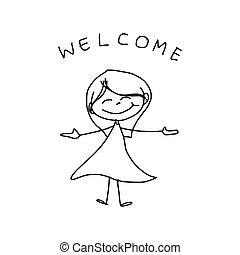 kéz, karikatúra, boldogság, rajz