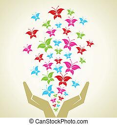 kéz, kibocsátott, pillangók, színes