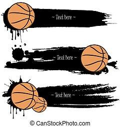 kéz, kosárlabda, állhatatos, húzott, grunge, szalagcímek